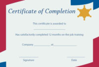On The Job Training Certificate Of Completion Template regarding Fresh Training Completion Certificate Template