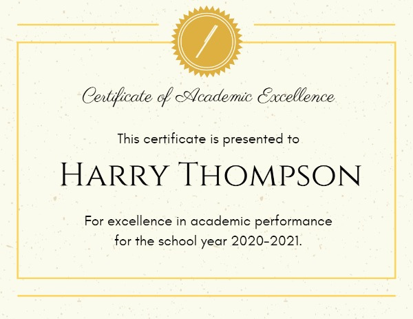 Online Academic Excellence Certificate Template | Fotor Inside Academic Excellence Certificate