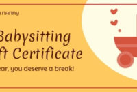 Online Babysitting Gift Certificate Template | Fotor Design for Babysitting Gift Certificate Template