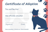 Online Certificate Of Adoption Certificate Template | Fotor in Cat Adoption Certificate Template
