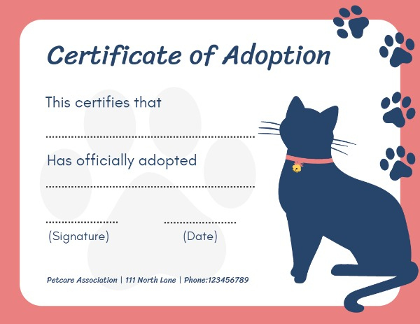 Online Certificate Of Adoption Certificate Template | Fotor in Cat Adoption Certificate Templates