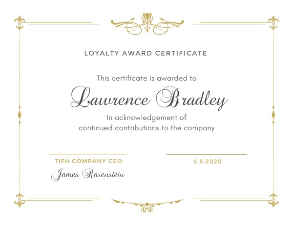 Online Loyalty Award Certificate Template | Fotor Design Maker In Winner Certificate Template