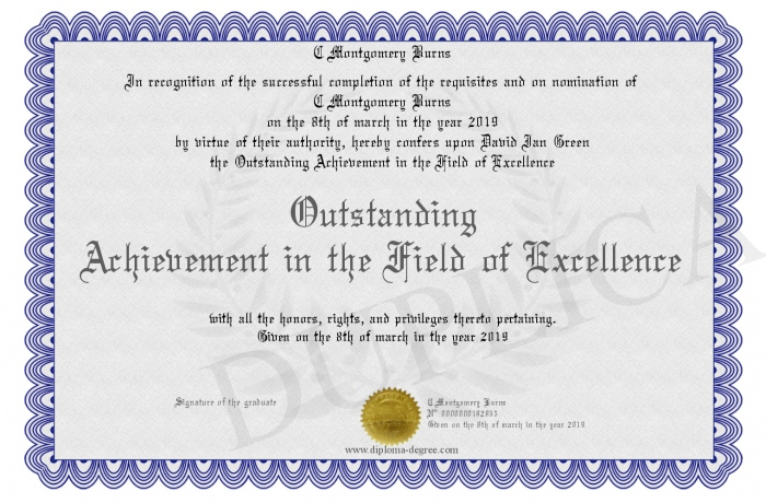 Outstanding Achievement In The Field Of Excellence With Regard To Outstanding Achievement Certificate