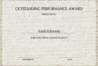 Outstanding Performance Award | Mydraw for Outstanding Performance Certificate Template