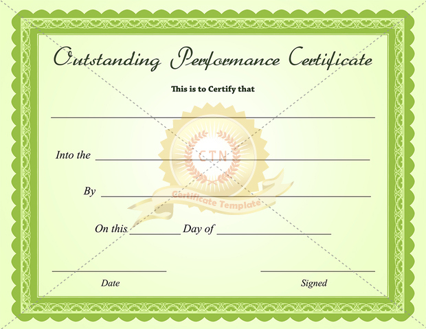 Outstanding Performance Certificate Green Business Within Fresh Outstanding Performance Certificate Template
