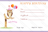 Owl Birthday Gift Certificate Template – Gift Certificates with regard to Birthday Gift Certificate