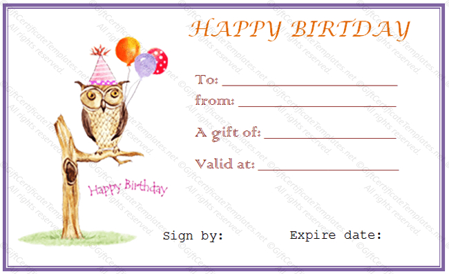 Owl Birthday Gift Certificate Template - Gift Certificates With Regard To Birthday Gift Certificate