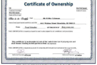 Ownership Certificate Template (6) – Templates Example within Unique Download Ownership Certificate Templates Editable