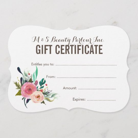 Painted Floral Salon Gift Certificate Template | Zazzle For Free Printable Beauty Salon Gift Certificate Templates