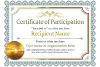 Participation Certificate Templates – Free, Printable, Add intended for Unique Participation Certificate Templates Free Printable