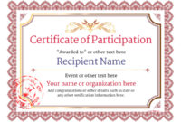 Participation Certificate Templates – Free, Printable, Add throughout Fresh Certificate Of Participation Template Doc 10 Ideas