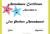 Perfect Attendance Award Certificates | Perfect Attendance with regard to Fresh Printable Perfect Attendance Certificate Template