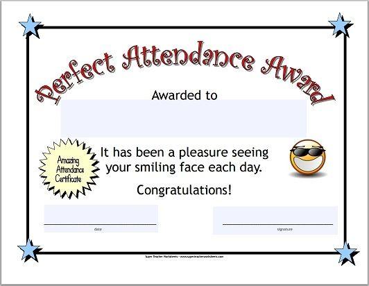 Perfect Attendance Certificate   Attendance Certificate Intended For Fresh Perfect Attendance Certificate Template Editable