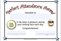 Perfect Attendance Certificate | Attendance Certificate within Fresh Printable Perfect Attendance Certificate Template