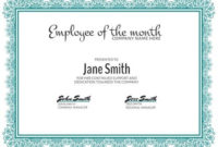 Personalize A Large Selection Of Employee Of The Month with Employee Of The Month Certificate Templates