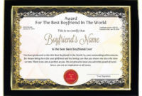 Personalized Award Certificate For Worlds Best Boyfriend for Best Boyfriend Certificate Template