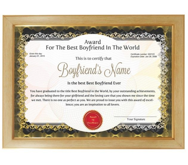 Personalized Award Certificate For Worlds Best Boyfriend in Best Best Boyfriend Certificate Template