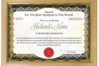 Personalized Award Certificate For Worlds Best Husband With with regard to Best Wife Certificate Template