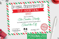 Personalized Elf Adoption Certificate Printable, Official intended for Elf Adoption Certificate Free Printable