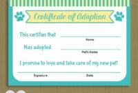 Pet Adoption Certificate / Instant Download Printable Pet within Dog Adoption Certificate Free Printable 7 Ideas