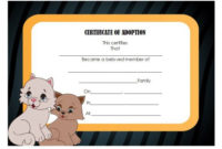 Pet Adoption Certificate Template: 10 Creative And Fun for Pet Adoption Certificate Template Free 23 Designs