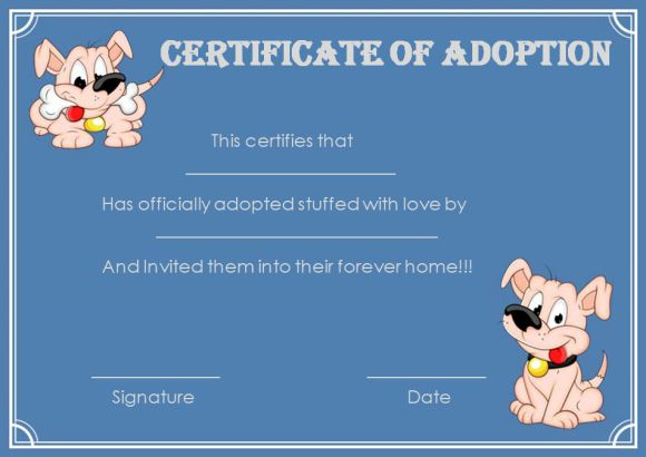 Pet Adoption Certificate Template: 10 Creative And Fun Inside Pet Adoption Certificate Template Free 23 Designs
