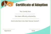 Pet Adoption Certificate Template: 10 Creative And Fun regarding Cat Adoption Certificate Templates