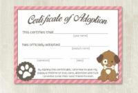 Pet Adoption Certificate Template, Fake Adoption Papers For inside Unique Stuffed Animal Adoption Certificate Editable Templates
