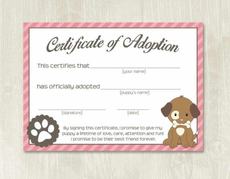 Pet Adoption Certificate Template, Fake Adoption Papers For intended for Dog Adoption Certificate Template