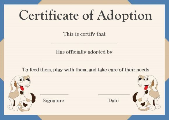 Pet Adoption Certificate Template | Pet Adoption Certificate Pertaining To Best Dog Adoption Certificate Editable Templates