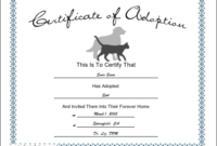 Pet Adoption Printable Certificate intended for Cat Birth Certificate Free Printable