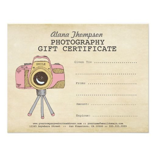 Photographer Photography Gift Certificate Template | Zazzle Inside Photography Session Gift Certificate
