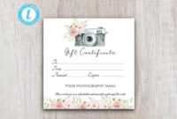 Photography Gift Certificate Template, Gift Voucher Printable Template,  Gift Card Download For Customers for Unique Printable Photography Gift Certificate Template