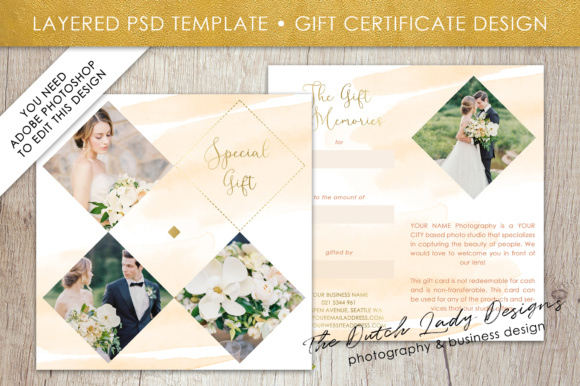 Photography Gift Certificate Template - Photo Gift Card - Layered Design #41 Intended For Fresh Photography Gift Certificate