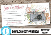 Photography Session Gift Certificate Template ~ Addictionary inside Fresh Photography Session Gift Certificate