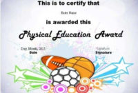 Physical Education Awards And Certificates – Free for Physical Education Certificate Template Editable