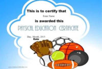 Physical Education Awards And Certificates – Free in Best Physical Education Certificate Template Editable