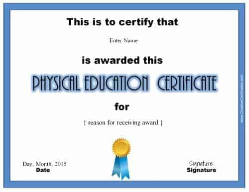 Physical Education Awards And Certificates - Free Inside Physical Education Certificate Template Editable
