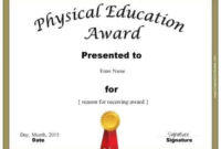 Physical Education Awards And Certificates – Free intended for Best Physical Education Certificate Template Editable