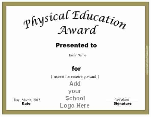 Physical Education Awards And Certificates - Free With Regard To Unique Pe Certificate Templates