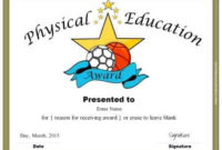Physical Education Awards And Certificates – Free within Physical Education Certificate 8 Template Designs