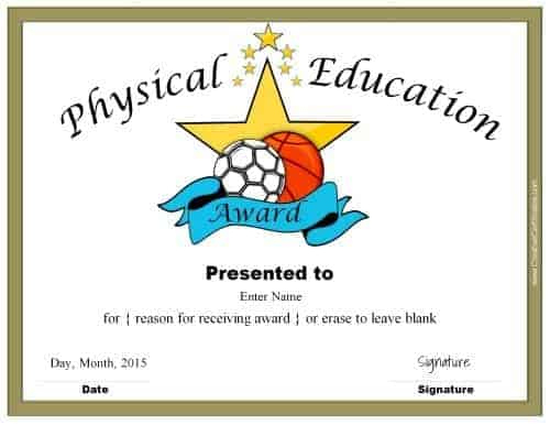 Physical Education Awards And Certificates - Free Within Physical Education Certificate 8 Template Designs