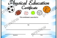 Physical Education Certificate, Pe Certificate, Editable Pe Certificate,  End Of Year Certificates, Template, Certificates in Physical Education Certificate Template Editable
