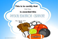 Physical Education Certificates | Education Certificate with Pe Certificate Templates