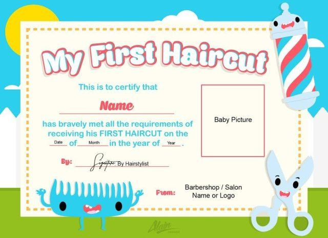 Pin On Baby'S 1St Haircut Certificates inside Best First Haircut Certificate