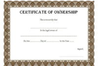 Pin On Certificate Of Ownership Free Ideas inside Ownership Certificate Templates