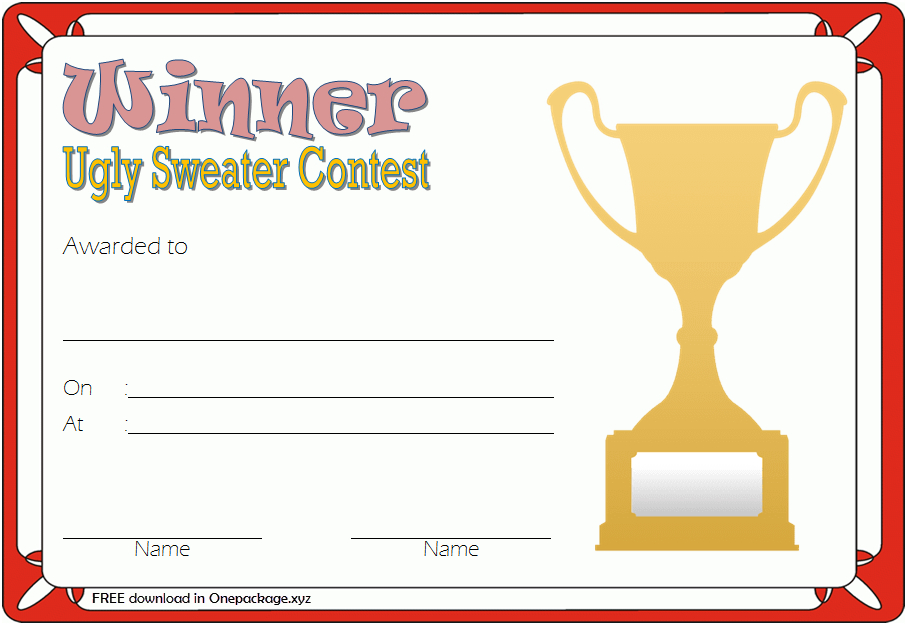 Pin On Free Ugly Christmas Sweater Certificate Template inside Free Ugly Christmas Sweater Certificate Template
