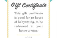 Pin On Nanny for Best Free Printable Babysitting Gift Certificate