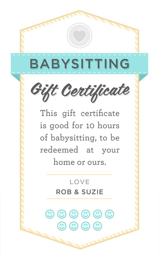 Pin On Nanny within Babysitting Gift Certificate Template