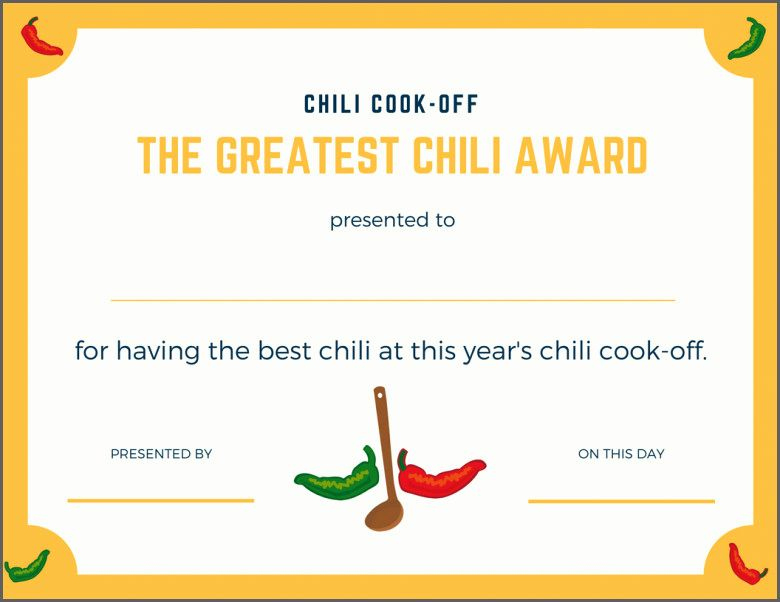 Pin On Primary With Regard To Fresh Chili Cook Off Award Certificate Template Free